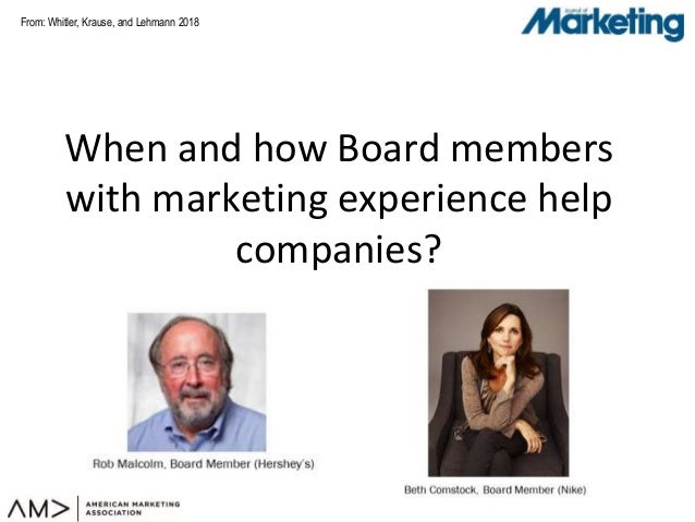 From: Whitler, Krause, and Lehmann 2018 When and how Board members with marketing experience help companies?