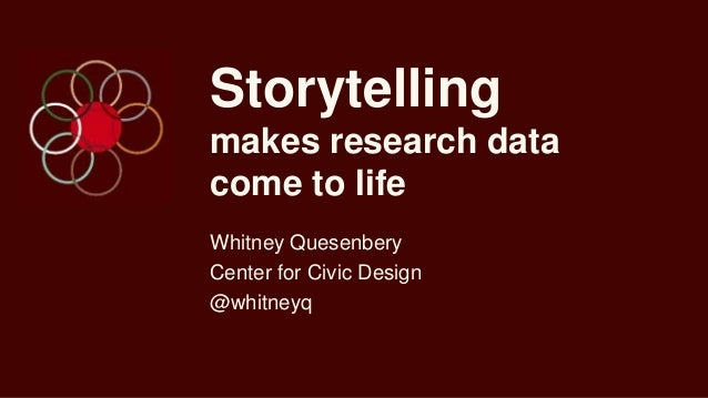 Storytelling makes research data come to life Whitney Quesenbery Center for Civic Design @whitneyq