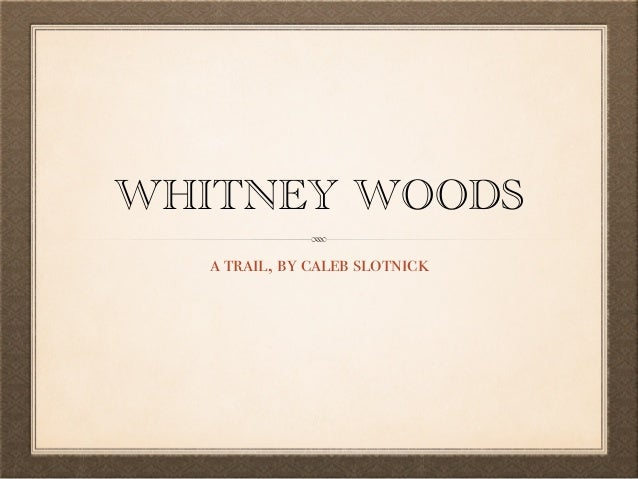 WHITNEY WOODS  a trail, by caleb slotnick