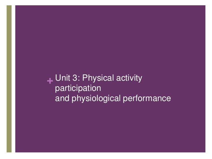 + Unit 3: Physical activity  participation  and physiological performance