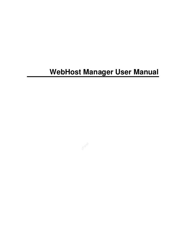 cPanel WebHost Manager User Manual
