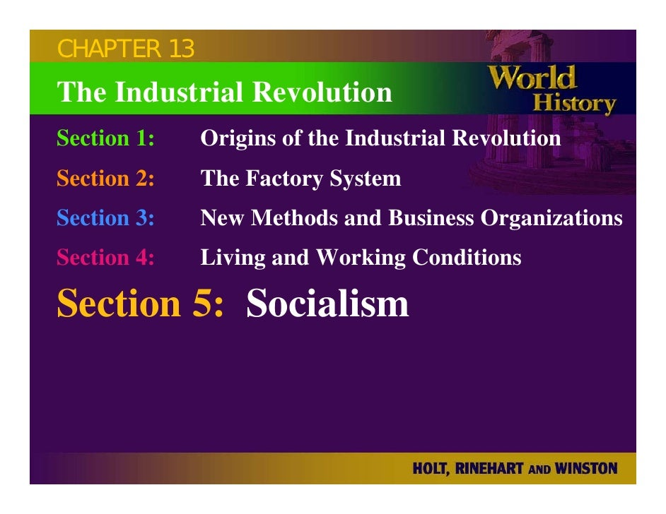 CHAPTER 13 The Industrial Revolution Section 1:   Origins of the Industrial Revolution Section 2:   The Factory System Sec...