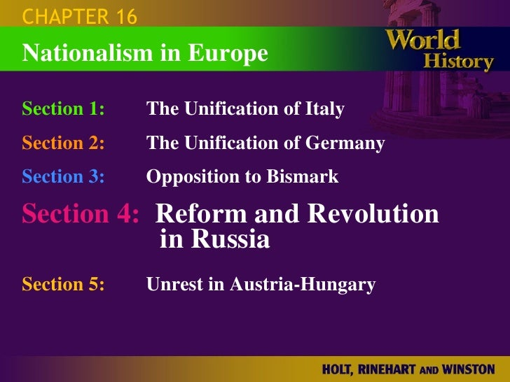 CHAPTER 16 Section 1: The Unification of Italy Section 2: The Unification of Germany Section 3: Opposition to Bismark Sect...