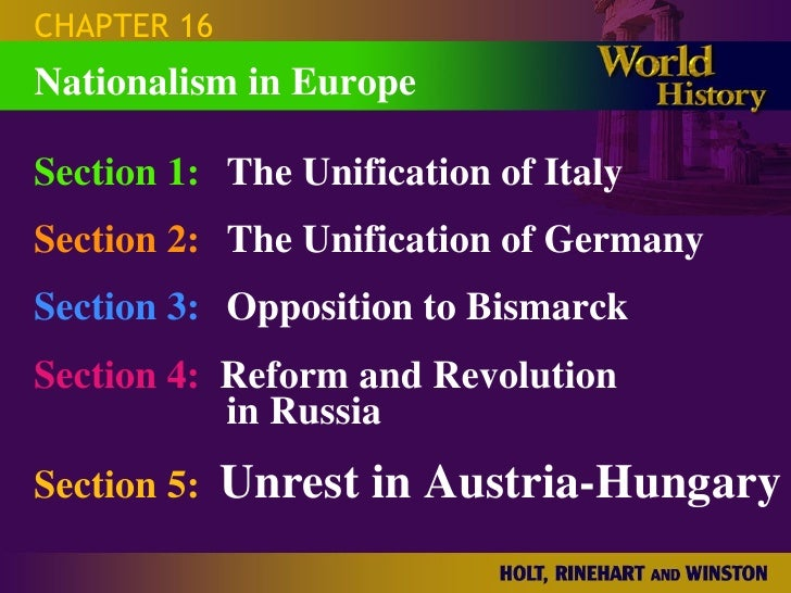 CHAPTER 16 Section 1: The Unification of Italy Section 2: The Unification of Germany Section 3: Opposition to Bismarck Sec...