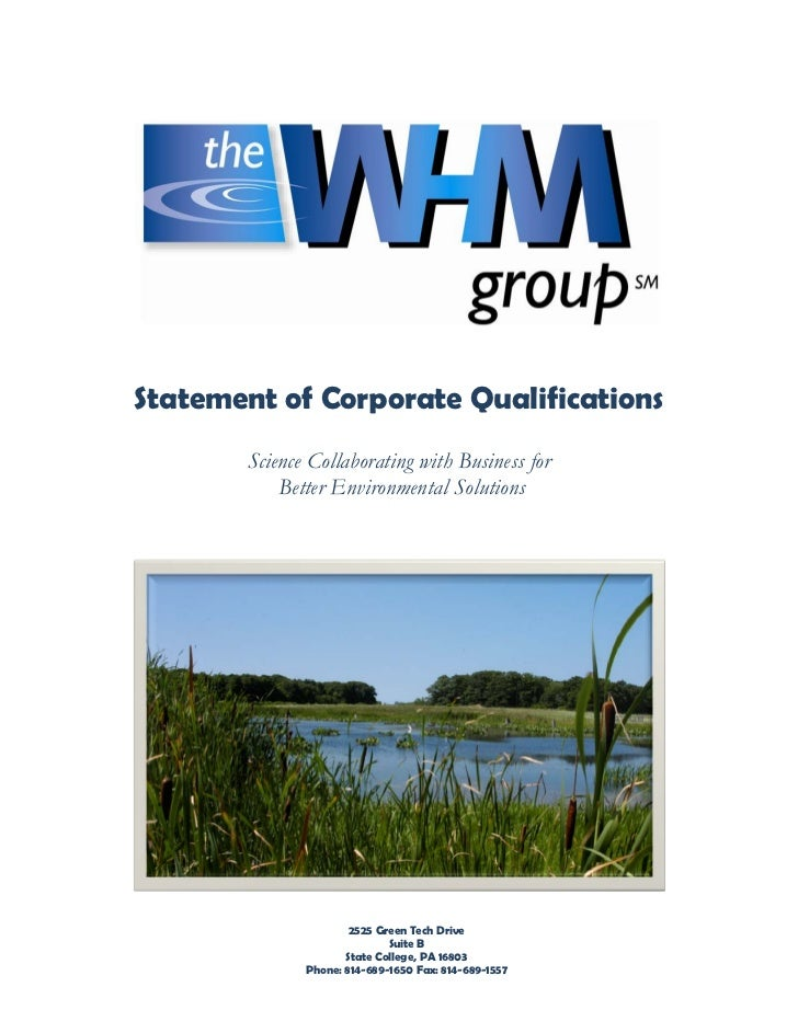Statement of Corporate Qualifications       Science Collaborating with Business for           Better Environmental Solutio...