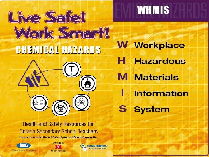 Pur pose of WHMIS  System of symbols, labels, and   materials safety data sheets   (MSDS)  Identify all hazardous produc...