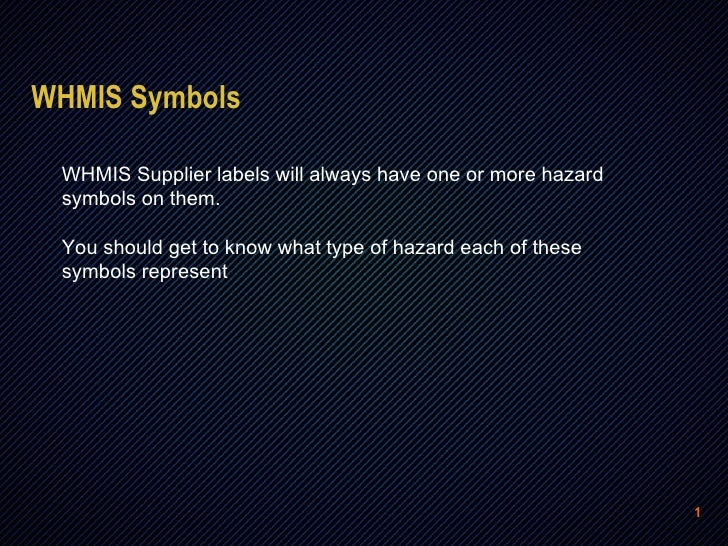 WHMIS Online Training Section 2: SYMBOLS