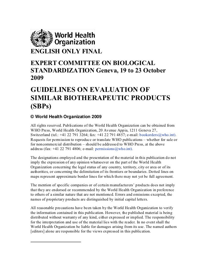 ENGLISH ONLY FINALEXPERT COMMITTEE ON BIOLOGICALSTANDARDIZATION Geneva, 19 to 23 October2009GUIDELINES ON EVALUATION OFSIM...