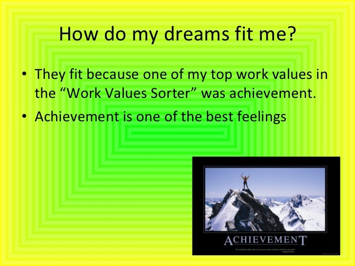 """How do my dreams fit me? <ul><li>They fit because one of my top work values in the """"Work Values Sorter"""" was achievement.  ..."""