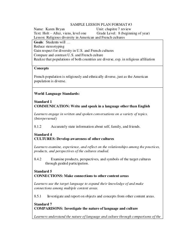Obe lesson plan format for World language lesson plan template