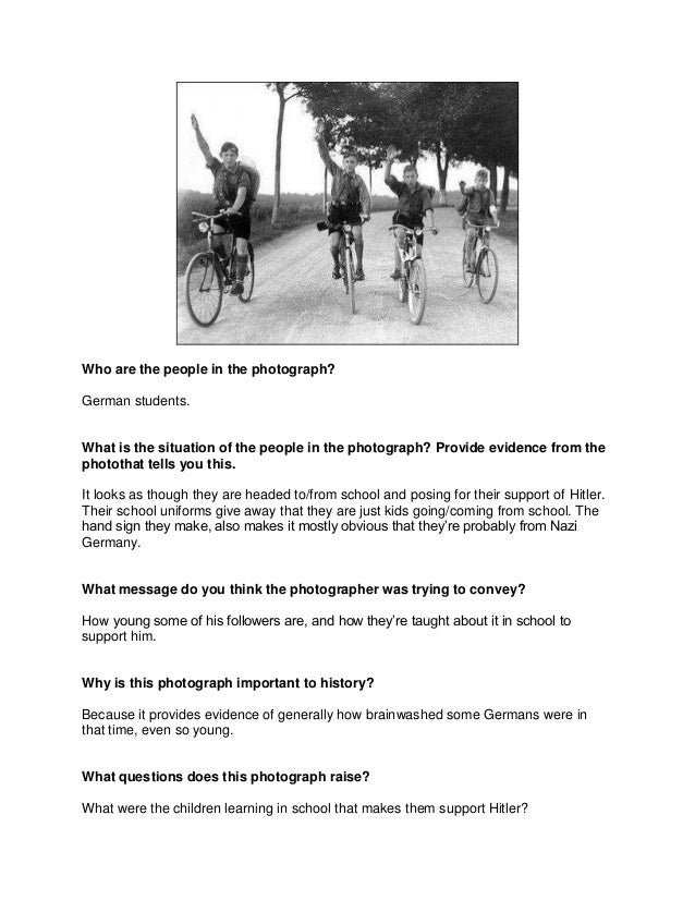 Who are the people in the photograph?German students.What is the situation of the people in the photograph? Provide eviden...