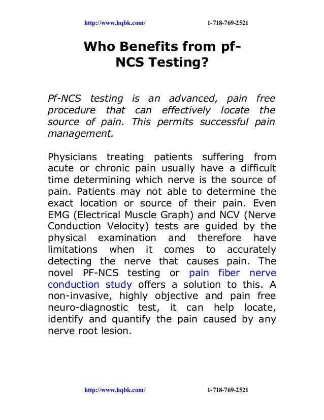 http://www.hqbk.com/     1-718-769-2521       Who Benefits from pf-          NCS Testing?Pf-NCS testing is an advanced, pa...