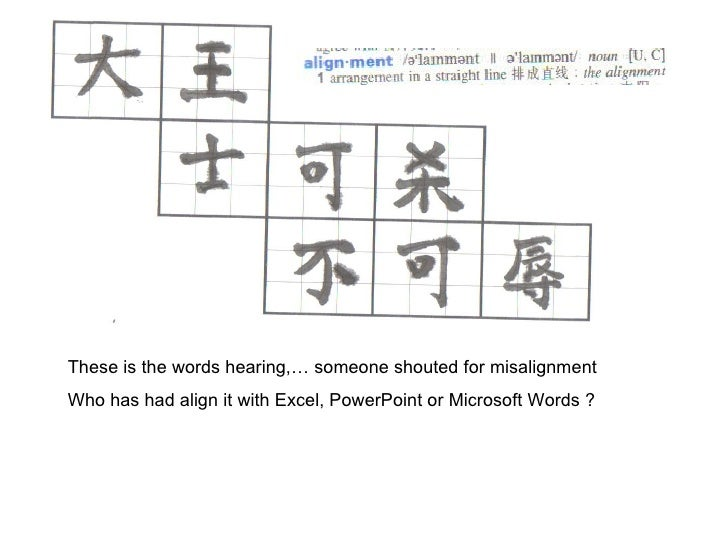 These is the words hearing,… someone shouted for misalignment Who has had align it with Excel, PowerPoint or Microsoft Wor...
