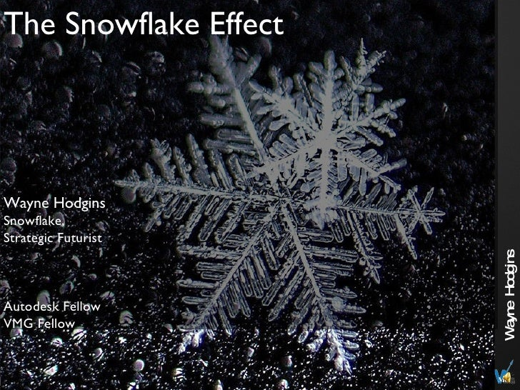 The Snowflake Effect Wayne Hodgins Snowflake, Strategic Futurist Autodesk Fellow VMG Fellow
