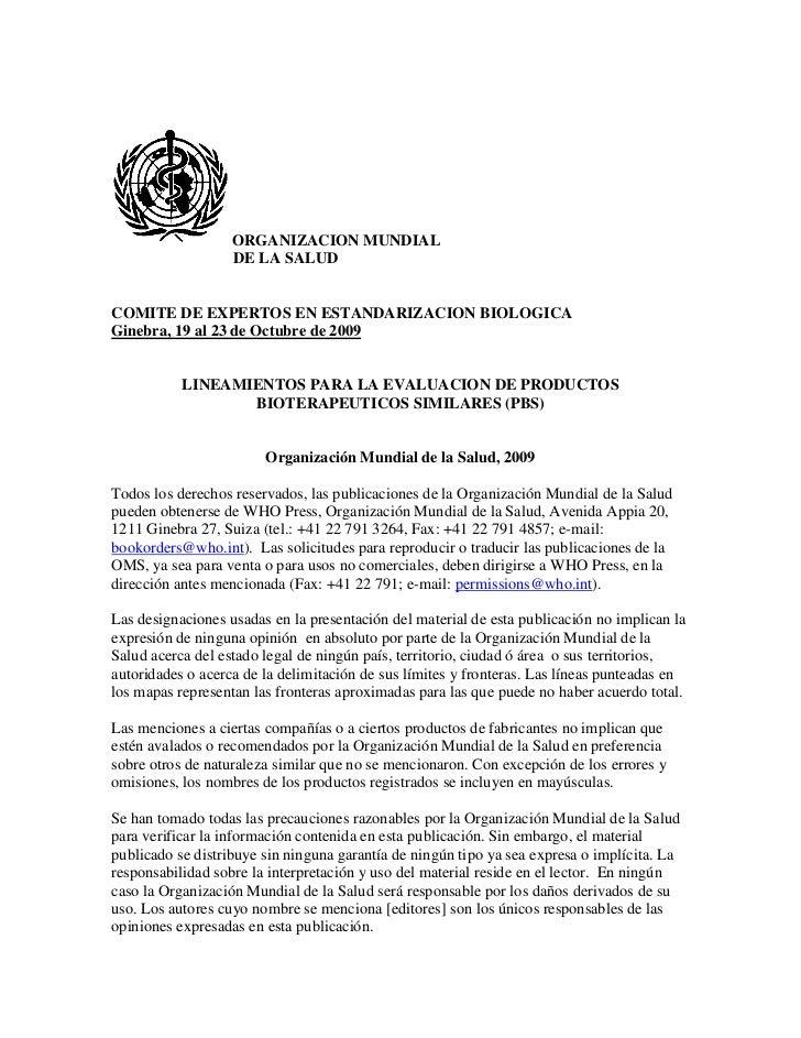 ORGANIZACION MUNDIAL                   DE LA SALUDCOMITE DE EXPERTOS EN ESTANDARIZACION BIOLOGICAGinebra, 19 al 23 de Octu...