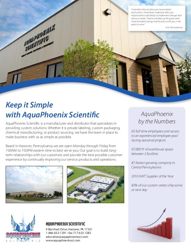 AquaPhoenix Scientific is a manufacturer and distributor that specializes in providing custom solutions. Whether it is pri...