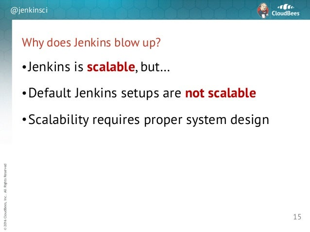 sd ©2016CloudBees,Inc.AllRightsReserved @jenkinsci Why does Jenkins blow up? •Jenkins is scalable, but… •Default Jenkins s...