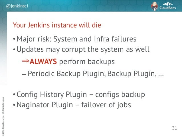 sd ©2016CloudBees,Inc.AllRightsReserved @jenkinsci Your Jenkins instance will die •Major risk: System and Infra failures •...