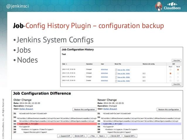 sd ©2016CloudBees,Inc.AllRightsReserved @jenkinsci Job Config History Plugin – configuration backup 32 •Jenkins System Con...
