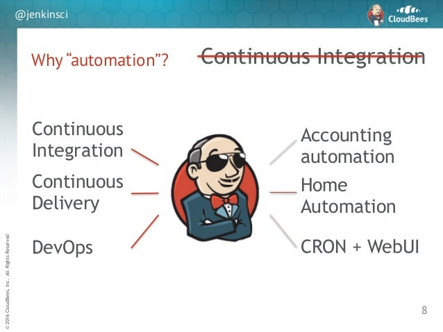 """sd ©2016CloudBees,Inc.AllRightsReserved @jenkinsci Why """"automation""""? 8 Continuous Integration Continuous Integration Conti..."""