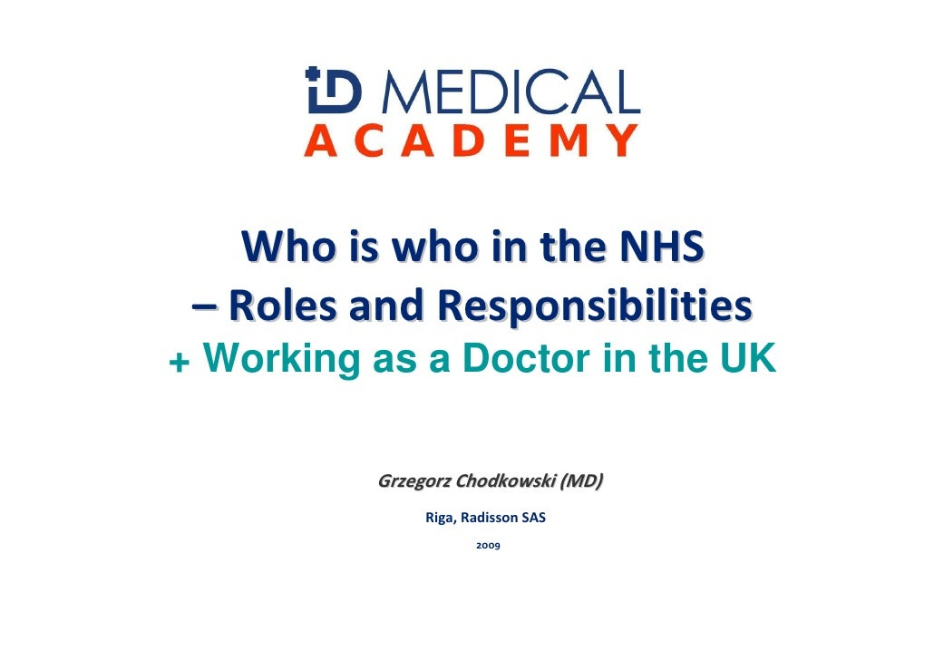 Who is who in the NHS  – Roles and Responsibilities + Working as a Doctor in the UK            Grzegorz Chodkowski (MD)   ...