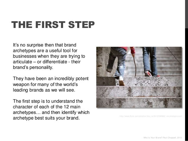 """THE FIRST STEPIt""""s no surprise then that brandarchetypes are a useful tool forbusinesses when they are trying toarticulate..."""