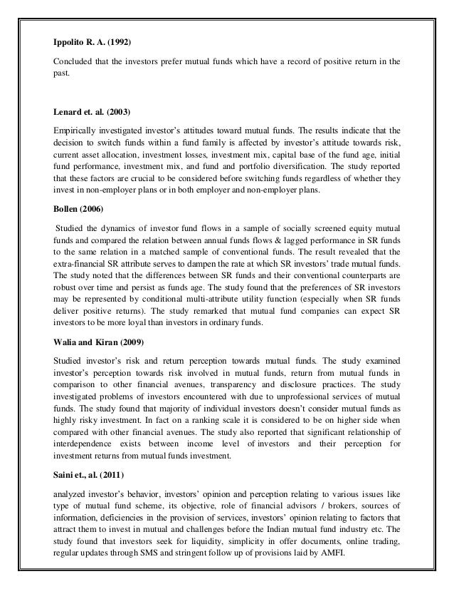 perception towards mutual funds 89 chapter iv perception and attitude towards mutual fund investors in namakkal district 41 introduction the fourth chapter of the present study gives the analysis of perceptions.