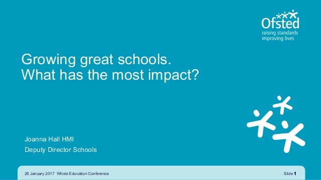 Growing great schools. What has the most impact? Joanna Hall HMI Deputy Director Schools 26 January 2017 Whole Education C...