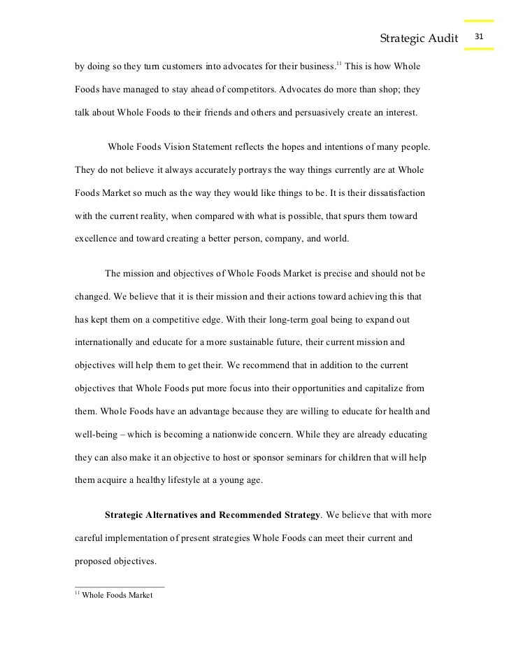 whole foods marketing strategy term paper