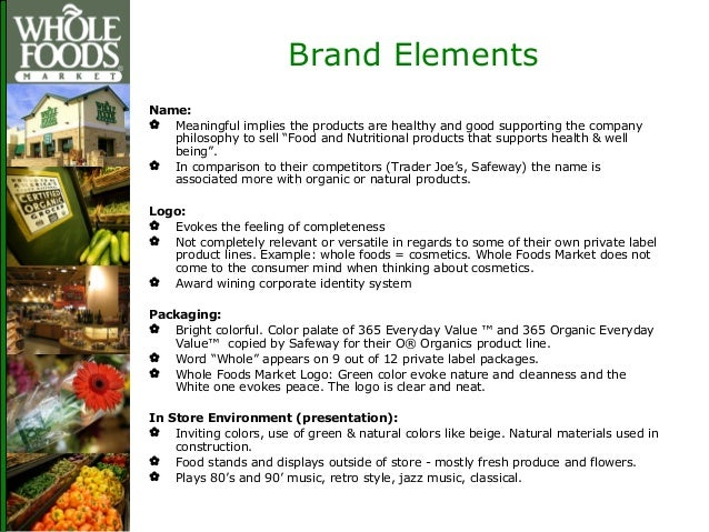 Whole Foods Market Nutritional Values