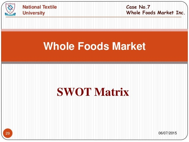 bcg matrix whole foods market Feedback loops and whole foods various issues are addressed in this paper that examines two feedback loops for the whole foods market there are six sources cite.