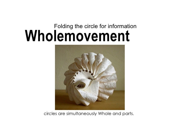Folding the circle for informationWholemovement  circles are simultaneously Whole and parts.
