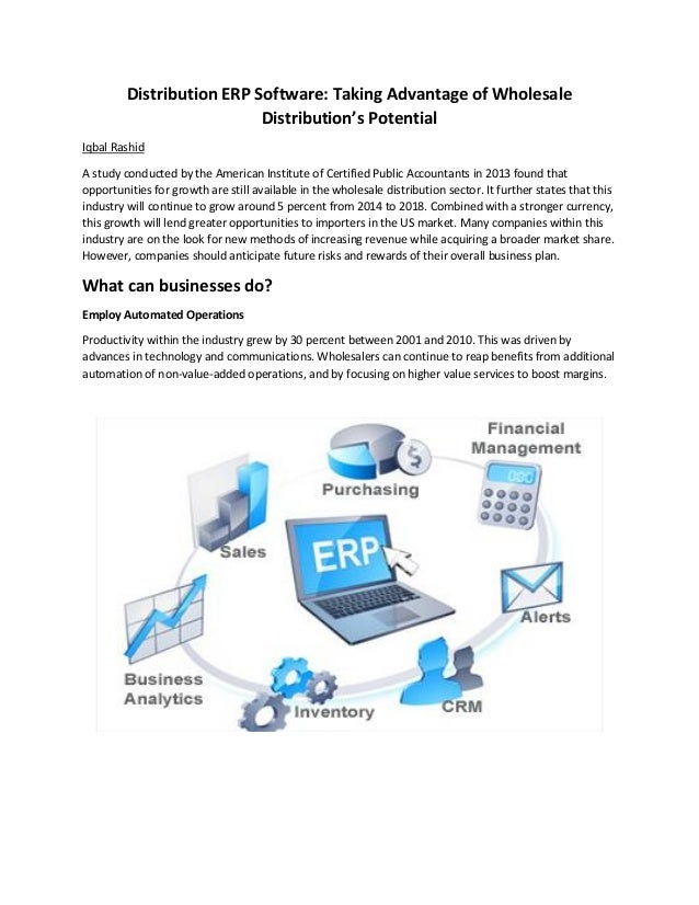 Distribution ERP Software: Taking Advantage of Wholesale Distribution's Potential Iqbal Rashid A study conducted by the Am...
