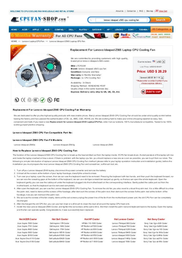 Wholesale and retail lenovo ideapad z565 laptop cpu cooling fan @ ide…