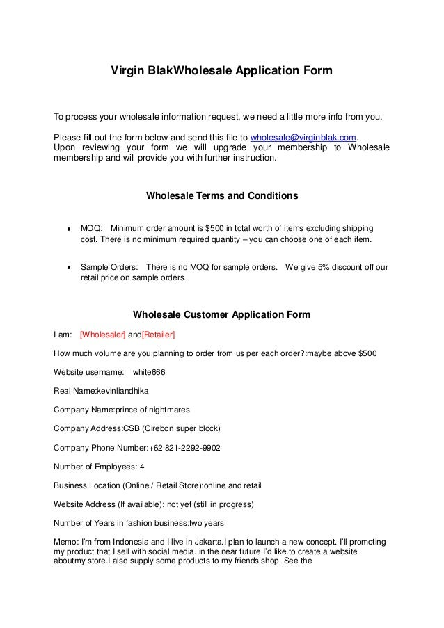 wholesale application form template