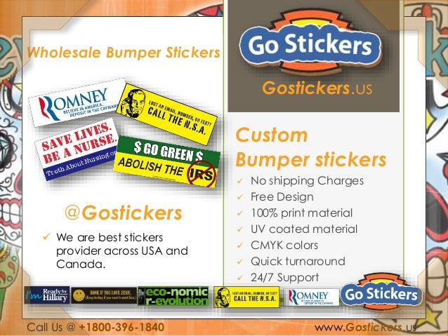 Gostickers us custom bumper stickers  no shipping charges  free design  100