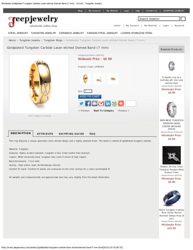 Wholesale Goldplated Tungsten Carbide Laser-etched Domed Band (7 mm) - $ 8.60 : Tungsten Jewelry                          ...