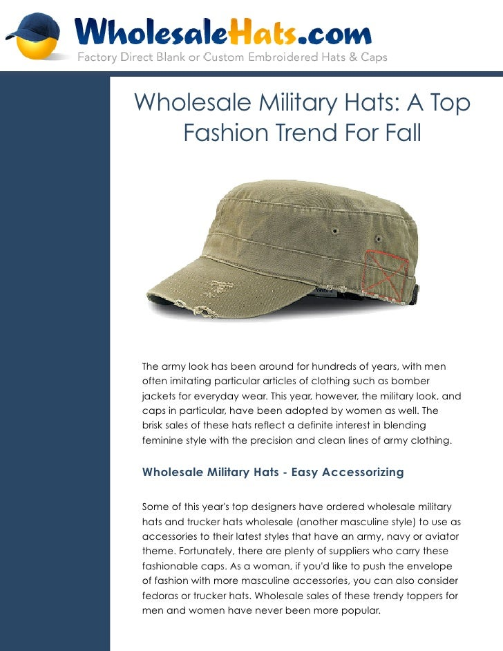Wholesale Military Hats A Top Fashion Trend For Fall