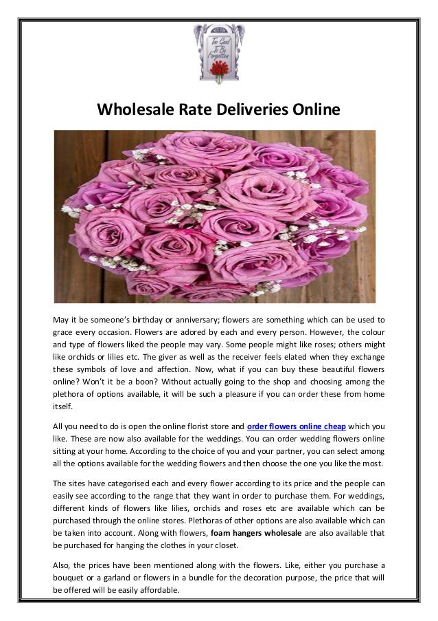 Wholesale Rate Deliveries Online