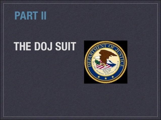 THE DOJ SUIT PART II