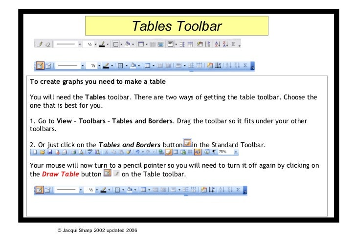 Tables ToolbarTo create graphs you need to make a tableYou will need the Tables toolbar. There are two ways of getting the...