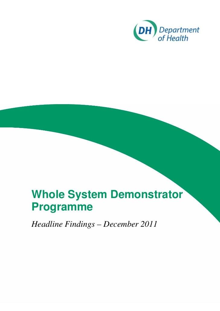 Whole System DemonstratorProgrammeHeadline Findings – December 2011
