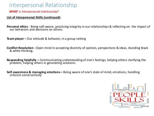 interpersonal relationship skills definition