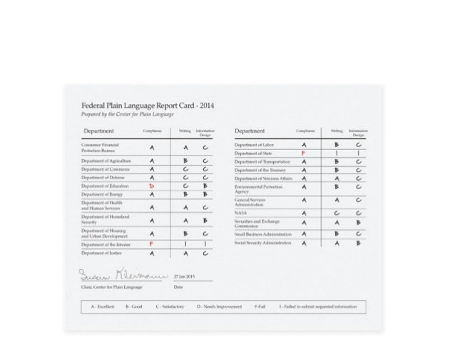 Who made the grade 2014 federal plain language report card