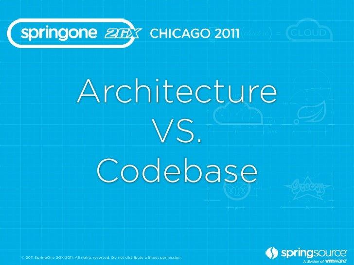 Architecture                                VS.                             Codebase© 2011 SpringOne 2GX 2011. All rights ...
