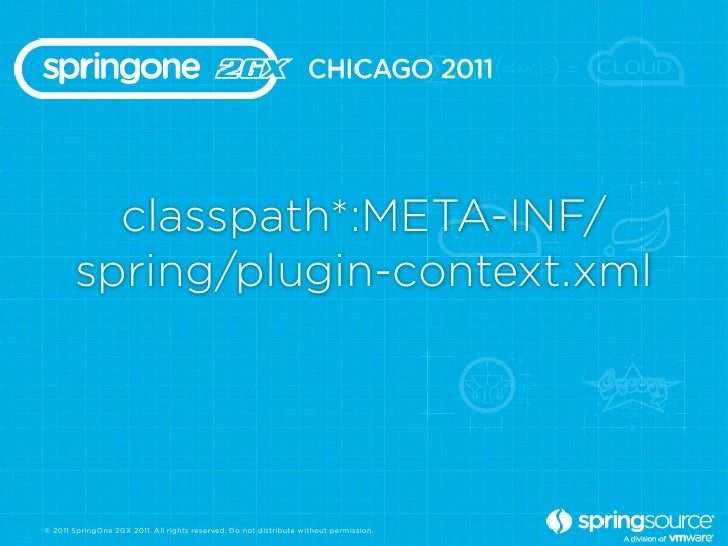 classpath*:META-INF/       spring/plugin-context.xml© 2011 SpringOne 2GX 2011. All rights reserved. Do not distribute with...