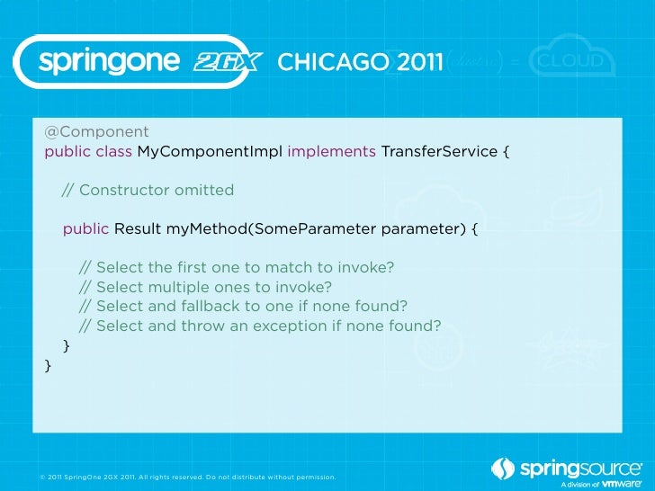 @Component public class MyComponentImpl implements TransferService {      // Constructor omitted      public Result myMeth...