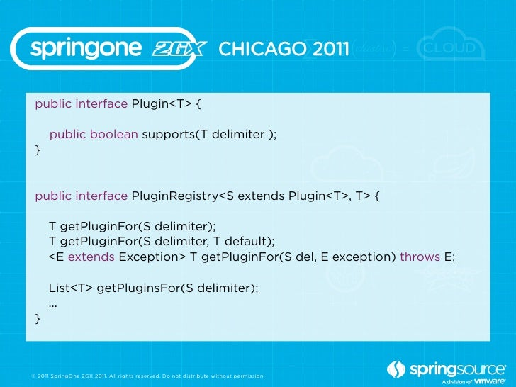 public interface Plugin<T> {      public boolean supports(T delimiter ); } public interface PluginRegistry<S extends Plugi...