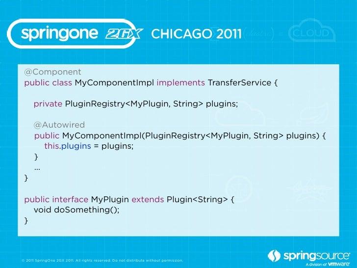 @Component public class MyComponentImpl implements TransferService {      private PluginRegistry<MyPlugin, String> plugins...