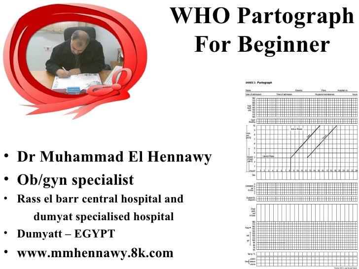 WHO Partograph                                 For Beginner• Dr Muhammad El Hennawy• Ob/gyn specialist• Rass el barr centr...